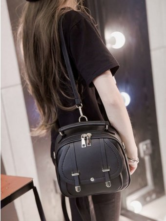 Zip Decorated Leather Backpack Crossbody Bags