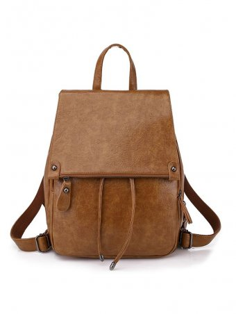 Zipper Decorated Flap Leather Backpack Bags