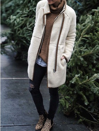 JurllyShe Spliced Zip Up Long Teddy Coat