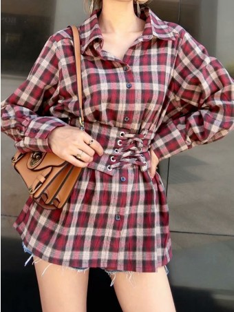 JurllyShe Plaid Blouse With Wide Lace Up Belt
