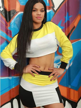 JurllyShe Contrast Color Crop Top With Mini Skirt
