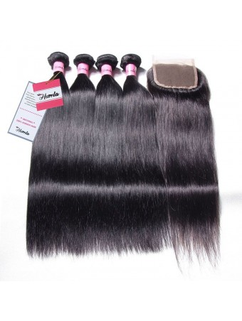 Hurela Series Straight 4 Bundles Human Hair with 4*4 Free Part Lace Closure Deals