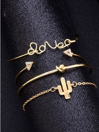4pcs Bracelet Set Hollow Out Cactus Love Decorated Knot Diamante Triangle Cuff Bracelet