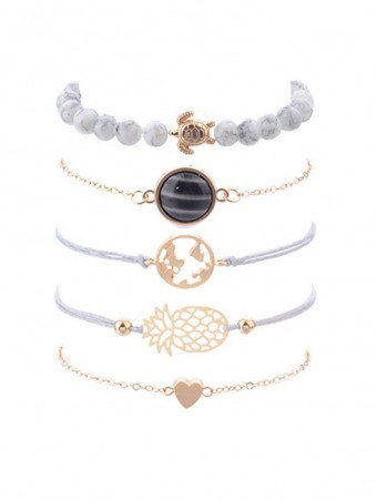 5pcs Bracelet Set Hollow Out Turtle Map Pineapple Bracelet & Round Crystal Heart Design Bracelet
