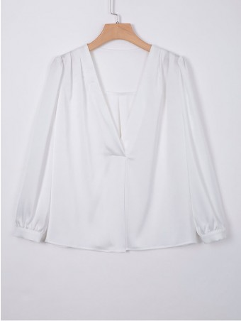 JurllyShe V Neck Puff Casual Blouse