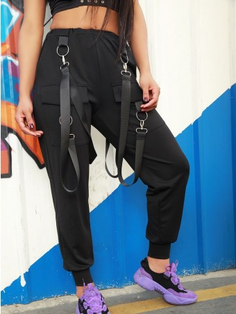 JurllyShe Ring Buckled Belt Pockets Decorated Pants