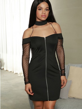 JurllyShe See-through Lace Design Sleeve Bodycon Dress