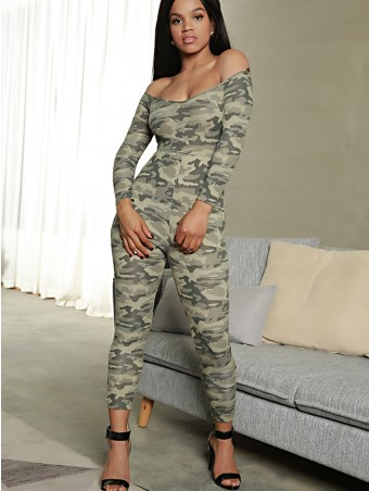 JurllyShe Camouflage Off the Shoulder Belt Jumpsuit