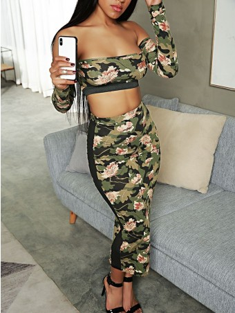 JurllyShe Print Camouflage Crop Top With Side Perspective Skirt Set