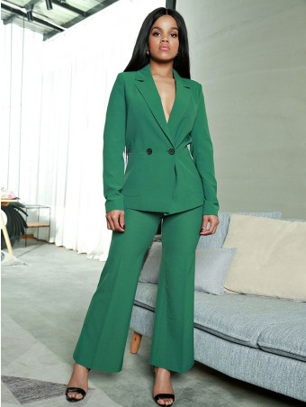 JurllyShe Double Breasted Pocket Blazer With Pants Suit