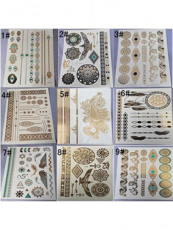 9 Sheets Trendy Vintage Tattoo Sticker Suit
