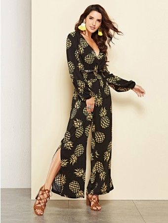 JurllyShe Pineapple Printed Split Loose Jumpsuits