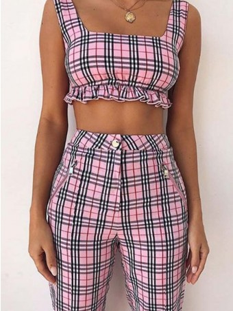 Frill Trim Vest Crop Top Suit With High Waist Pants
