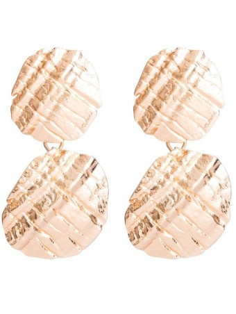 Boho Textured Double Disc Drop Earrings