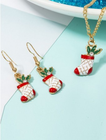 Christmas Boots Necklace & Drop Earrings Jewelry Decoration Sets