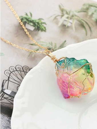 Colored Raw Stone Necklace
