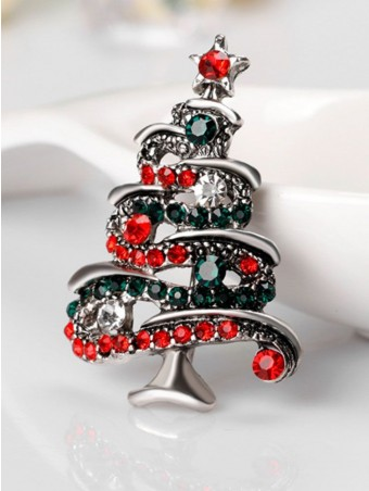Colorful Crystal Embellished Christmas Tree Shaped Brooch