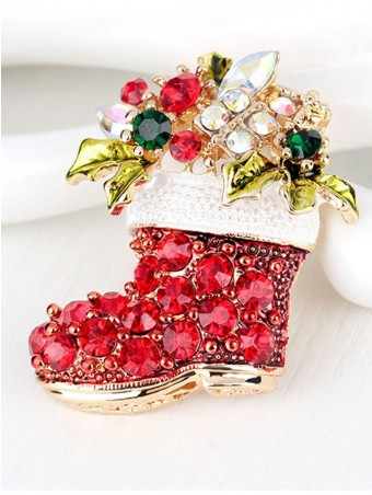 Colorful Rhinestone Embellished Boot Shaped Christmas Brooch