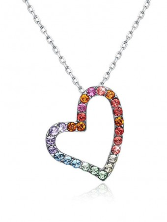Colorful Austrian Crystal Heart Pendant Necklace