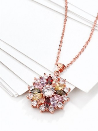 Colorful Zircon Floral Pendant Necklace
