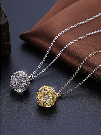 Colorized Austrian Crystal-encrusted Hollow Out Pendant Necklace