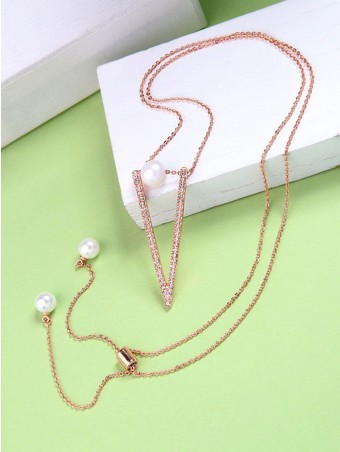Crystal-encrusted Triangle Pearl Embellished Pendant Necklace