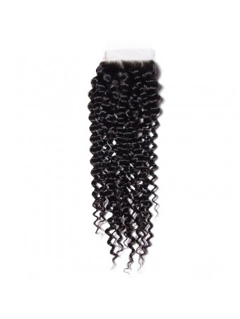 Hurela Series 100% Virgin Human Hair 4*4 Curly Wave Lace Closure