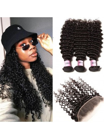AfricanMall 3 Bundles Deep Wave Virgin Human Hair With 13*4 Lace Frontal Closure