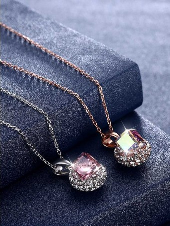 Diamante Austrian Crystal Embellishes Pendant Necklace