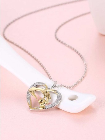 Diamante Heart Mom's Love Pendant Necklace