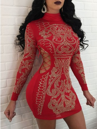 Diamond-Studded Lace up Sheathy Dress