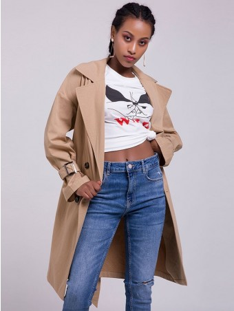 JurllyShe Double Breasted Belted Trench Coat