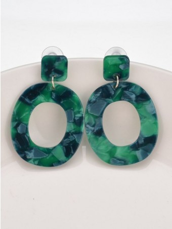 Ethnic Acrylic Ring Shaped Hollow Out Earring