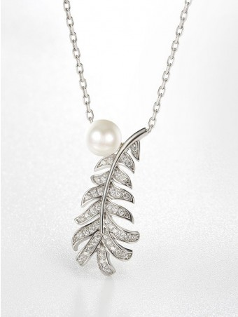 Feather Shaped Shell Pearl Design Necklace