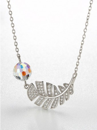 Feather Shaped Crystal Ball Design Necklace