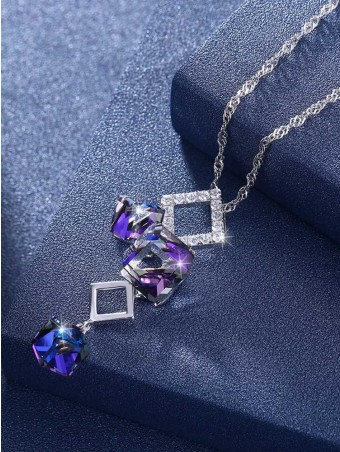 Geometric Austrian Crystal Pendant Necklace