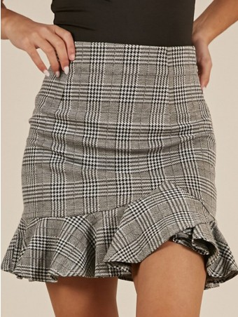 JurllyShe High Waist Asymmetrical Ruffle Plaid Skirt