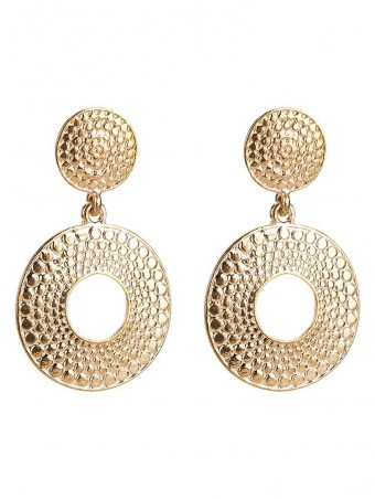 Hollow Out Embossed Round Drop Earjewelrys