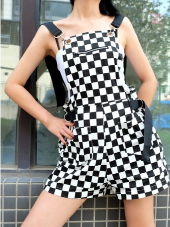 JuellyShe Grid Print Overall Adjustable Backless Shorts