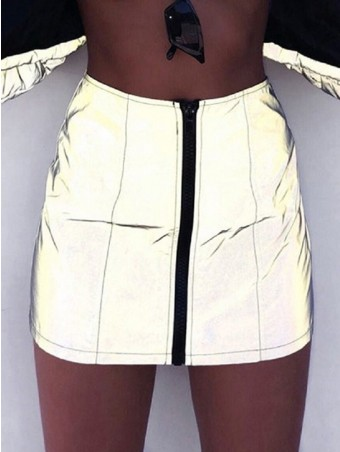 JullyShe Zipper Up Front Reflective Skirt