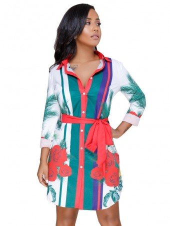 JurllyShe Belted Waist Printing Shirt Dress