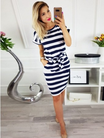 JurllyShe Belted Waist Stripe Spliced Dress