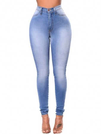 JurllyShe Bleach Wash High Waist Skinny Jeans