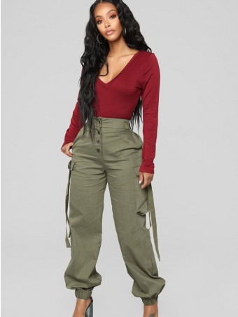 JurllyShe Button Decorated Flap Pocket Side Pants