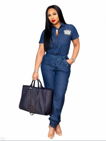 JurllyShe Button Up Belted Denim Jumpsuit