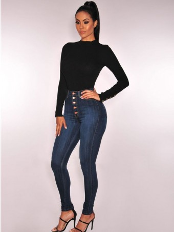 JurllyShe Button Up High Waist Bleached Jeans-Black Blue