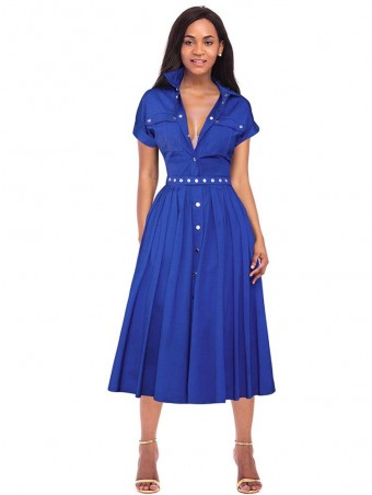 JurllyShe Buttons Detailed Spliced Pleated Dress