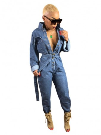 JurllyShe Buttons Up Denim Romper with Belt
