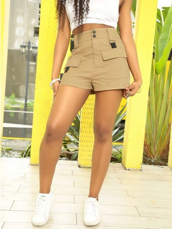 JurllyShe Casual Button Solid Shorts