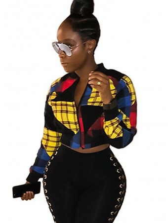 JurllyShe Contrast Color Plaid Print Cropped Jacket